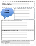 Classroom Management - Behavior Think Sheets