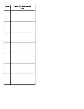 Classroom Management Behavior and Homework Check List