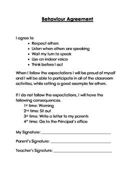 Classroom Management - Behaviour Agreement – Primary Grades