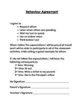 Classroom Management - Behaviour Agreement – Primary Grades