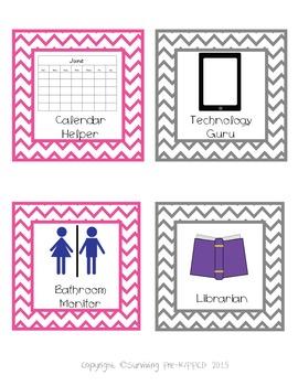 Classroom Management Bundle - Pink & Gray Chevron