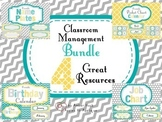 Classroom Management Bundle in Yellow, Teal, and Gray