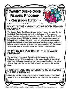 Classroom Management - Caught Doing Good Reward Program - Classroom Edition