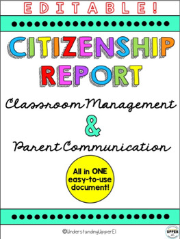 Classroom Management - Citizenship Report for Upper Elementary Classrooms
