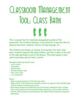 Classroom Management: Class Bank