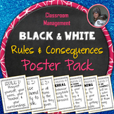 Classroom Management Class Rules and Consequences Poster Pack: Black and White