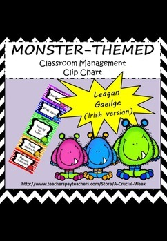 Classroom Management Clip Chart (IN IRISH, AS GAEILGE) - Monster theme