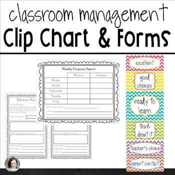 Classroom Management Clip Chart and Forms - Multicolored Chevron