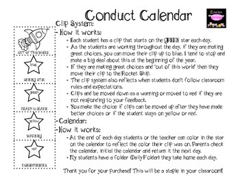 Classroom Management {Clip System & Student Calendars}