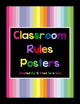 Classroom Management: Colorful Class Rules Posters