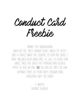 FREEBIE! Pocket Chart Conduct Cards