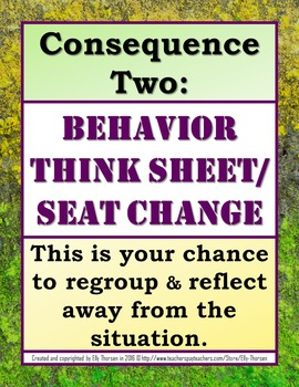 Classroom Management Consequences Posters in English and Spanish