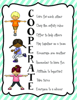 Classroom Management: Cooperate Poster for PE