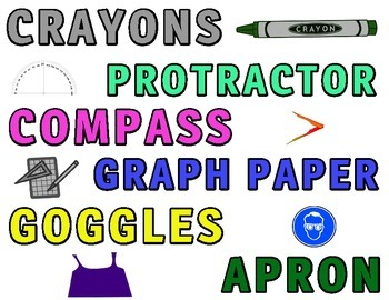 """Classroom Management Daily """"Materials Needed"""" Cards for Bulletin/White Board"""