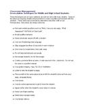 Classroom Management De-Escalation tips