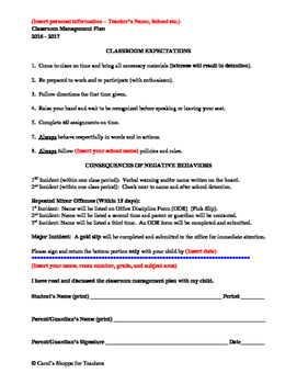 Back to School Classroom Management Discipline policy letter.