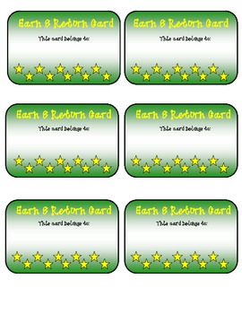 Classroom Management Earn & Return Cards