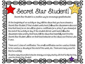 classroom management free secret star student by teacher s planet