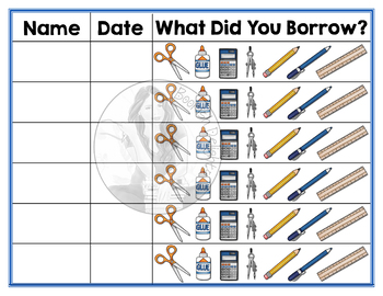 Classroom Management Form - School Supply Sign Out Sheet