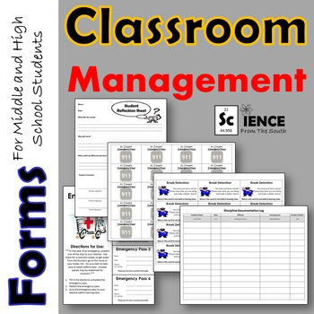 Classroom Management Forms Bundle for Middle and High Scho