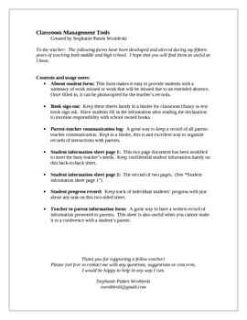Classroom Management Forms for the Teacher