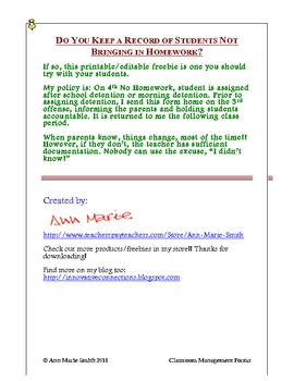 Classroom Management: Free No Homework Notice to Parents