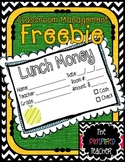 Classroom Management Freebie: Lunch Money Slips