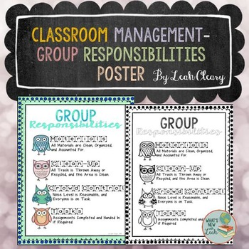 Classroom Management Group Responsibility Poster