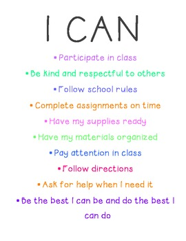 Classroom Management: I CAN Poster