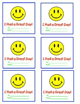 Classroom Management- I Had a Great Day Cards