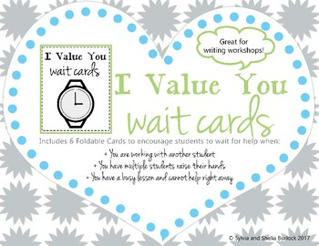 Classroom Management Wait Cards