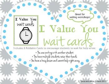 Waiting Cards I Value You Wait Cards