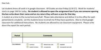 Classroom Management Ideas