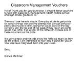 Classroom Management: Incentive Vouchers