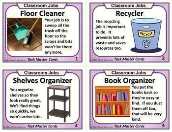 Classroom Jobs Task Cards with Fun Rhyming Job Descriptions.  EDITABLE