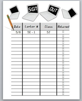 Classroom Management: Laptop sign out sheet