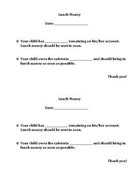Classroom Management: Lunch Money Form