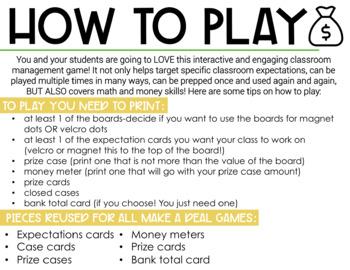 Classroom Management Make A Deal | Plan | Game