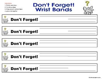 Parent Communication- Messages Home Wrist Bracelet Reminders