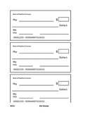 Classroom Management Money System-Blank Checks