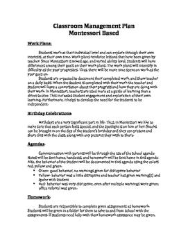 Classroom Management- Montessori
