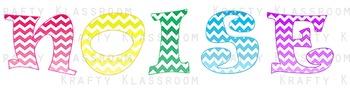 """Classroom Management """"NOISE"""" ~ Multi-Color Chevron Ombre' Design"""