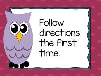 Classroom Management Owl Class Rules
