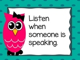 Classroom Management Owl Class Rules