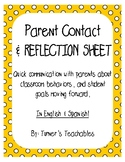 Classroom Management: Parent Contact & Reflection Sheet (E