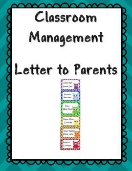 Classroom Management Parent Letter