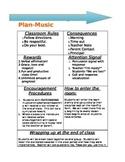 Classroom Management Plan Elementary Music EDITABLE