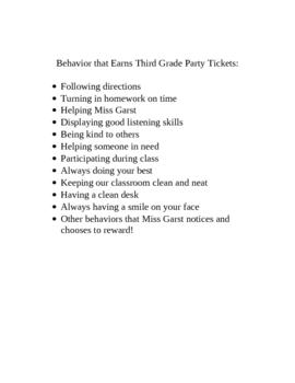 Classroom Management Plan-Tickets