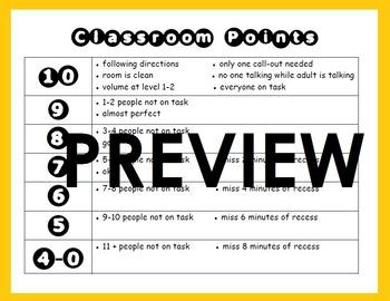 Classroom Management Points Chart: Positive Reinforcement