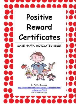 Classroom Management:  Positive Behavior Reward Certificat
